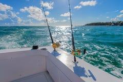 Cannes à pêche de bateau Photos libres de droits