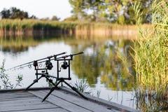 Cannes à pêche de carpe photographie stock libre de droits