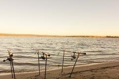 Cannes à pêche et attirails de pêche côte sur berge, lac Photographie stock libre de droits