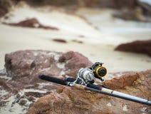 Cannes à pêche sur la plage Image stock