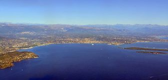 Cannes Aerial View, Cote d`azur Provence France. Aerial View of Cannes Bay, Cote d`azur Provence France royalty free stock images