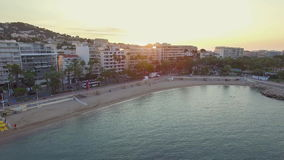 Cannes, Aerial view over the croisette at sunrise stock video footage