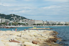 Cannes beach. Rocky beach in Cannes, France Stock Images