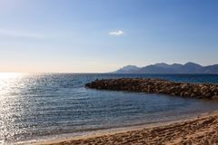 Cannes beach day view, France. Famous town in south of France. Promenade de la Croisette stock image