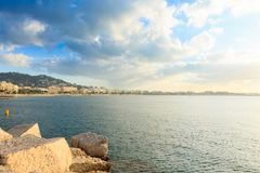 Cannes beach day view, France. Famous town in south of France. Promenade de la Croisette stock photo