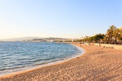 Cannes beach day view, France. Famous town in south of France. Promenade de la Croisette royalty free stock photography