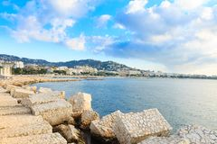 Cannes beach day view, France. royalty free stock photo