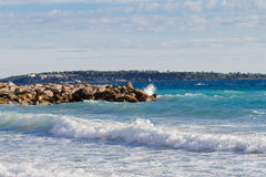 Cannes beach with Ile Saint Marguerite and Saint Honorat in autumn Royalty Free Stock Photography