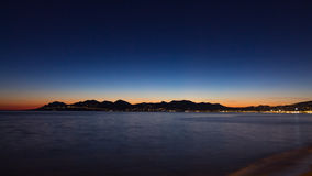 Cannes beach night view, France stock images