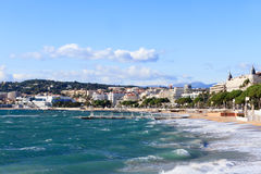 Cannes beach on stormy November day stock photography