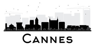 Cannes City skyline black and white silhouette. Stock Photos