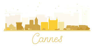 Cannes City skyline golden silhouette. Royalty Free Stock Photos