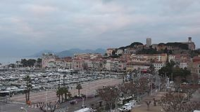 Cannes Cityscape France. Cannes, France - January 30, 2018: Fortification Castle and Cityscape at Winter Day in Cannes, France stock footage