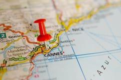 Cannes en mapa Fotografía de archivo