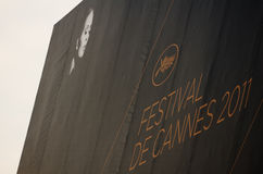 Cannes film festival 2011, France. CANNES, FRANCE - MAY 13: The official poster of Cannes featuring Faye Dunaway prior to the 64th Cannes Film Festival on May 11 royalty free stock image