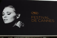 Cannes film festival 2011, France. CANNES, FRANCE - MAY 13: The official poster of Cannes featuring Faye Dunaway at the 64th Cannes Film Festival on May 11, 2011 royalty free stock photos