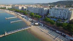 Cannes flyg- sikt över croisetten på soluppgång lager videofilmer