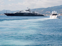 CANNES, FRANCE - AUGUST 13: Giant luxury yacth anchored in Frenc Stock Images