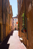 Cannes, France - August 05, 2016: road in the old town of Cannes with unidentified people. Cannes, at the French Riviera, known fo. Cannes, France - August 05 Royalty Free Stock Photo