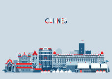 Cannes France City Skyline Vector Background Flat Royalty Free Stock Photography