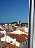 Cannes France French Riviera rooftop view of tile roof and old t. Own Royalty Free Stock Photo