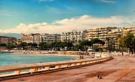 CANNES, FRANCE -  JULY 5, 2014. The beach in Cannes. Cannes loca Stock Photos