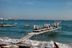 CANNES, FRANCE -  JULY 5, 2014. The beach in Cannes. Cannes loca Royalty Free Stock Images