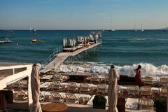 CANNES, FRANCE -  JULY 5, 2014. The beach in Cannes. Cannes loca Stock Photo