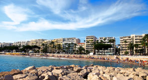 CANNES, FRANCE -  JULY 5, 2014: The beach in Cannes. Cannes loca Royalty Free Stock Photography