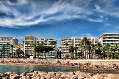 CANNES, FRANCE -  JULY 5, 2015: The beach in Cannes. Cannes loca Royalty Free Stock Photography
