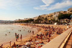 CANNES, FRANCE -  JULY 5, 2015: The beach in Cannes. Cannes loca Stock Images