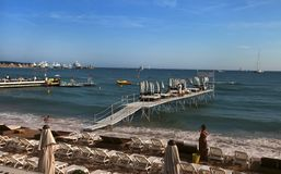 CANNES, FRANCE -  JULY 5, 2014: The beach in Cannes. Royalty Free Stock Photos