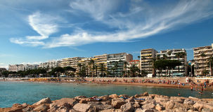 CANNES, FRANCE -  JULY 5, 2014: The beach in Cannes. Stock Photography