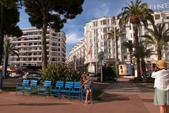CANNES, FRANCE -  JULY 5, 2014. Boulevard de la Croisette in Can Royalty Free Stock Photography
