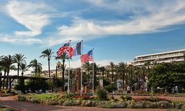 CANNES, FRANCE -  JULY 5, 2014. Boulevard de la Croisette in Can Royalty Free Stock Images