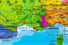 Cannes France map. Cannes in France pinned on colorful political map of Europe. Geopolitical school atlas. Tilt shift effect Stock Image