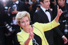 Emma Thompson at the premiere for. CANNES, FRANCE. May 21, 2017: Emma Thompson at the premiere for `The Meyerowitz Stories` at the 70th Festival de Cannes Stock Images