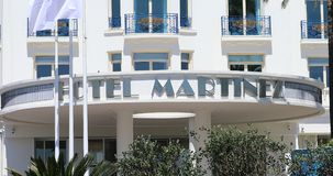 Hotel Martinez Cannes Entrance. Cannes, France - May 14, 2019: Entrance To The luxury Hotel Martinez On La Croisette, Famous Art Deco Style Grand Hotel, France