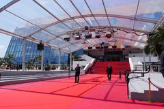 CANNES, FRANCE-MAY 14: Stair of Festival Palace shown on may, 2018 in Cannes, France. The red carpet for the famous stock photo