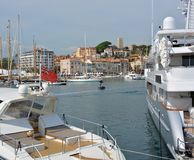 Cannes Luxury Boats, Marina, Buildings and Hill Royalty Free Stock Photography