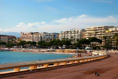 CANNES, FRANKRIJK - JULI 5, 2014 De baai van Cannes in Alpes Maritimes Fr Royalty-vrije Stock Foto