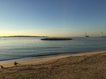 Cannes, Franse riviera bij zonsopganglandschap royalty-vrije stock afbeeldingen