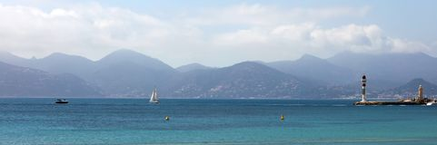Cannes French riviera, mediterranean coast, Eze, Saint-Tropez, Monaco and Nice. Blue water and luxury yachts. stock photos