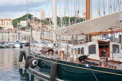 Cannes harbor with fortress and sailing ships,  France Stock Image