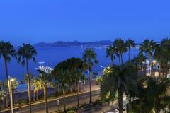 Cannes i Frankrike i morgonen Arkivbild