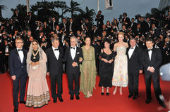 Cannes Jury. CANNES, FRANCE - MAY 15, 2013: The Jury of the 66th Festival de Cannes - Steven Spielberg, Nicole Kidman, Daniel Auteuil, Ang Lee, Lynne Ramsay royalty free stock images