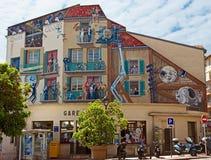 Cannes - Kunst het schilderen op de muur Stock Afbeelding