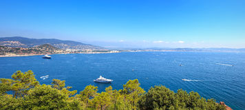 Cannes La Napoule bay view. French Riviera, Azure Coast, Provence. Cannes and La Napoule panoramic sea bay view, yachts and boats  from Theoule sur Mer. French Stock Photo