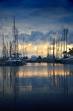 Cannes marina in sun set, France Royalty Free Stock Photography