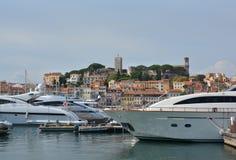 Cannes Marina, wzgórze & budynki, Provence Francja Obrazy Royalty Free